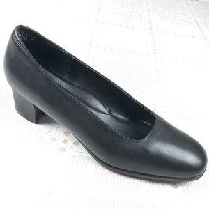 ROCKPORT Pumps 10 M Black Leather Block Heels